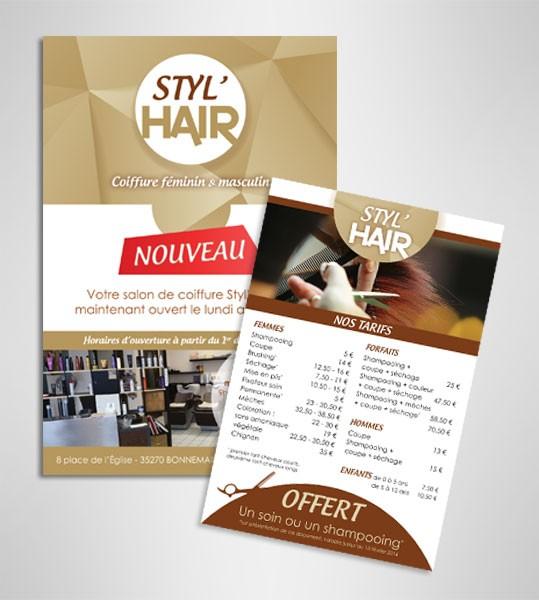 Création du flyer Styl'Hair, coiffeur sur Bonnemain