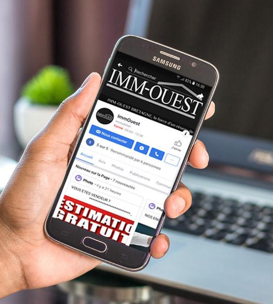 Création des réseaux sociaux sur mobile ImmOuest à Dinan